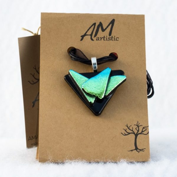 Black & Lime Dichroic Glass Pendant
