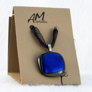 Stacked Fused Glass Pendant – Blue