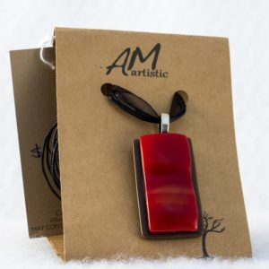 Warm Red & Brown Fused Glass Pendant