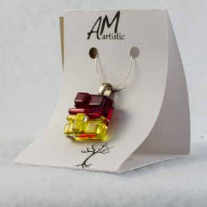 Tactile Glass Pendant in Red & Yellow