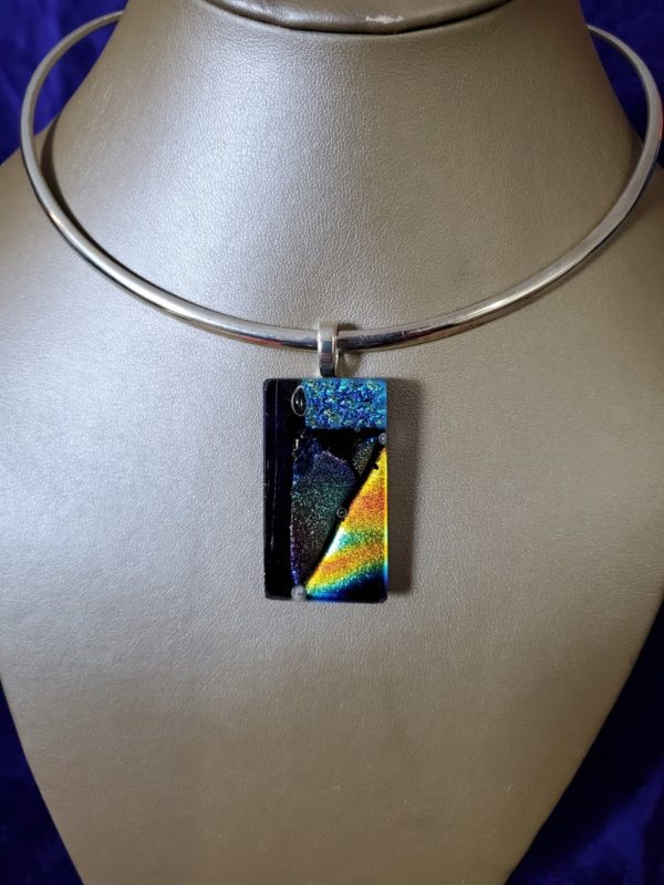 Cold Worked Dichroic Glass Pendant