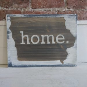 """Home"" Distressed Laser Engraved Sign"
