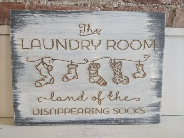 Laundry Room Distressed Laser Engraved Sign