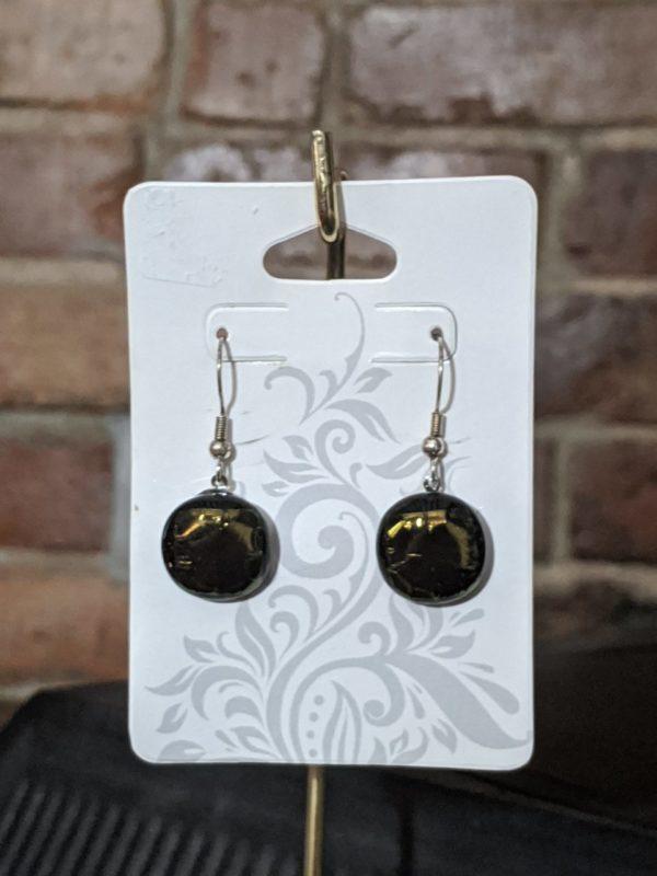 Black/Gold Fused Glass Earrings