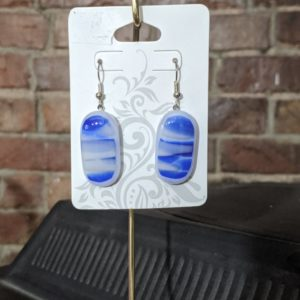 Blue/White Fused Glass Earrings