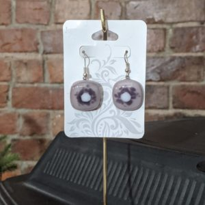 Purple Shades/White Fused Glass Earrings