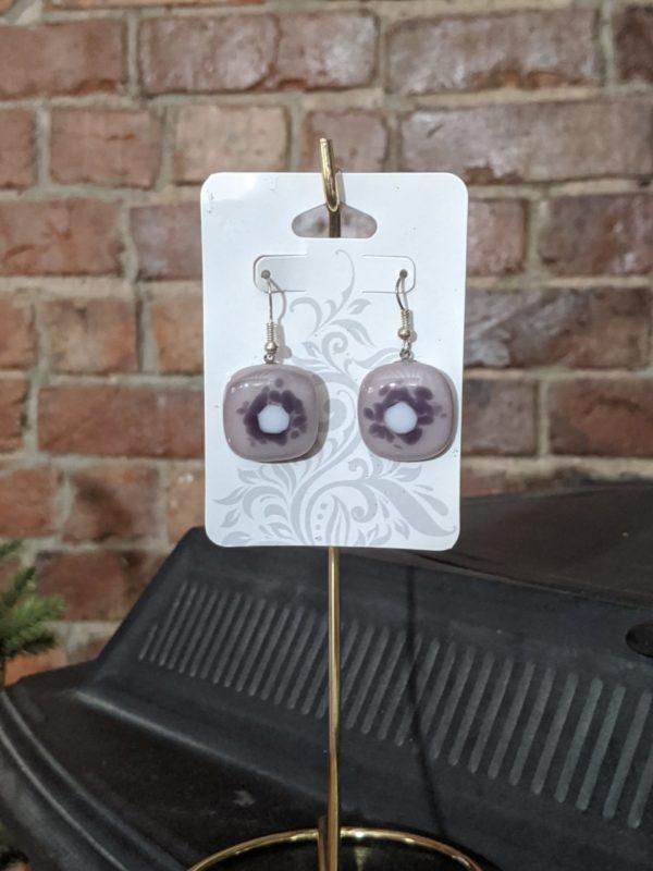 Purple Shades/White Fused Glass Earrings