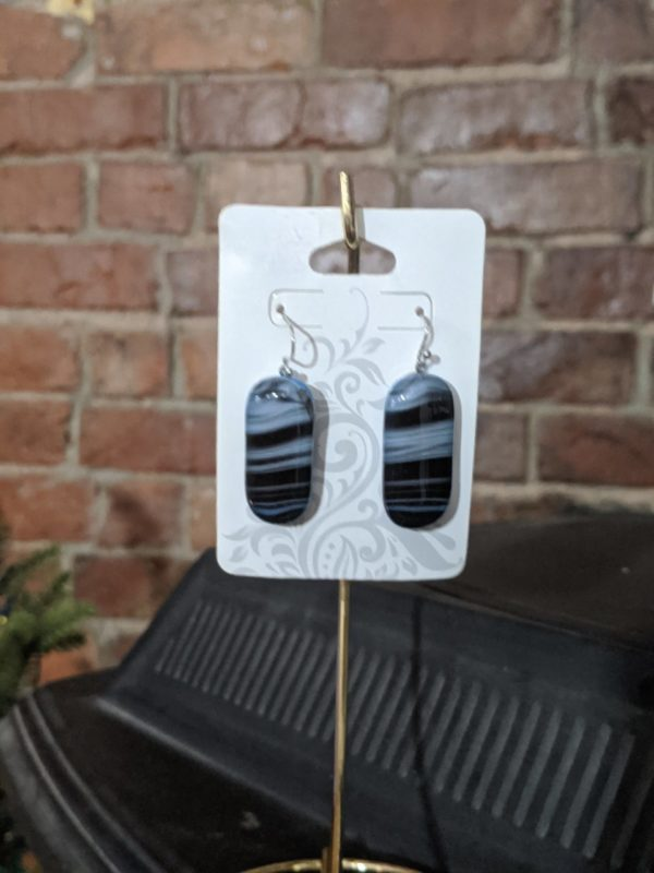 Black/Blue/Grey Shades Fused Glass Earrings