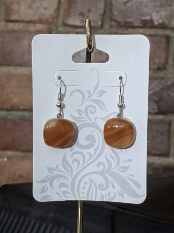 Brown Shades Fused Glass Earrings