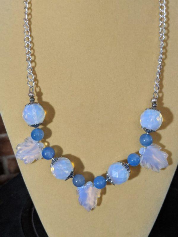 Opalite & Blue Agate Gemstone Necklace W/Matching Earrings