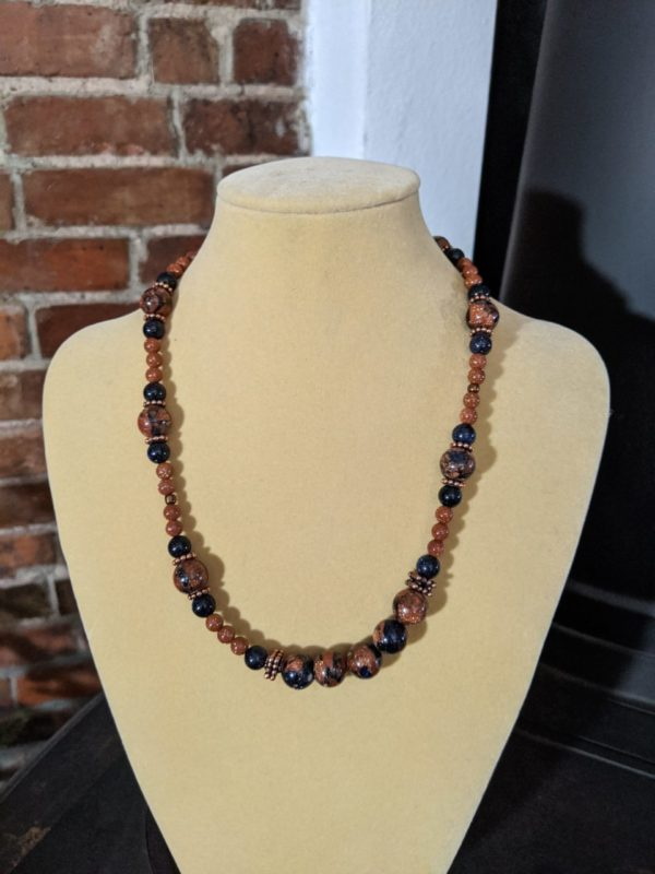Brown and Midnight Goldstone Gemstone Necklace