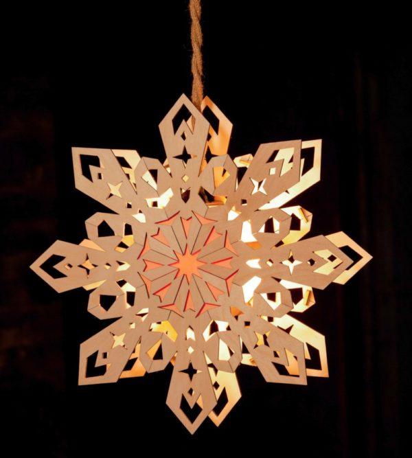 Koselig Lighted Hanging Scandinavian Welcome Snowflake