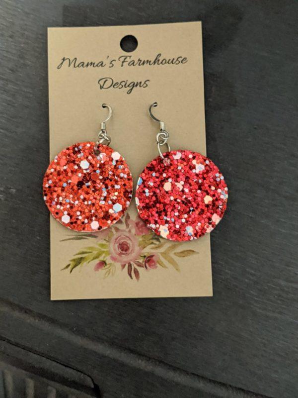Red Sparkle Vinyl Leather Earrings