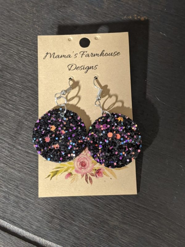 Multi Color Sparkle Vinyl Leather Earrings