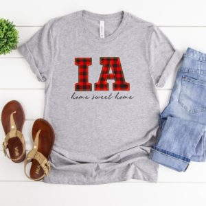 Buffalo Plaid Home Sweet Home Tee, Choose Your State