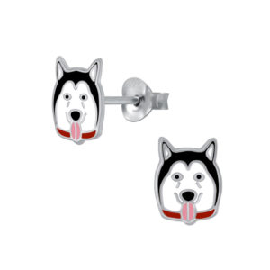 Black and White Dog Sterling Silver Post Earrings