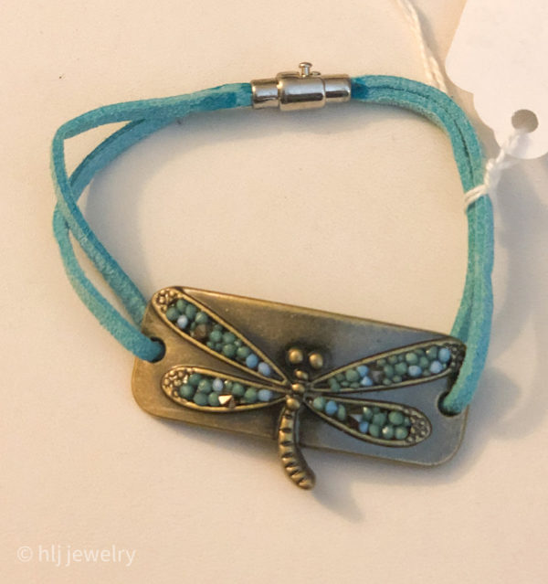 "Dragonfly 7"" leather bracelet"