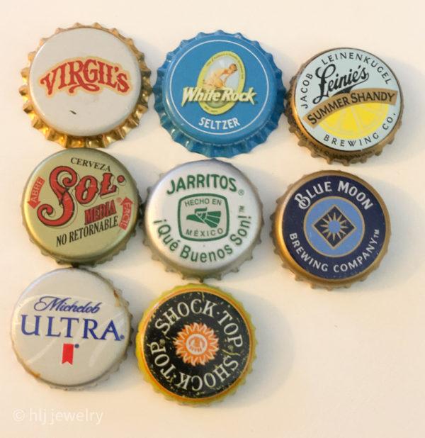 Set of 8 Bottlecap Magnets – Beer, Alcohol, Soda