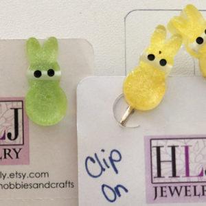 Peeps Bunny Post & Clip on Earrings