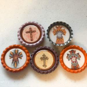 Set of 5 Cross Bottlecap Magnets