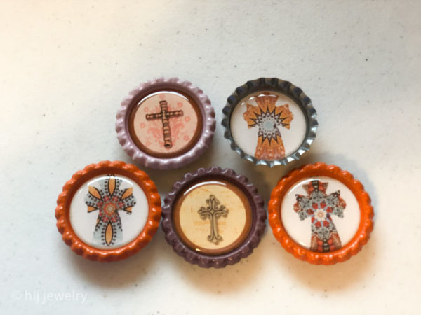 Set of 5 Cross Bottlecap Magnets