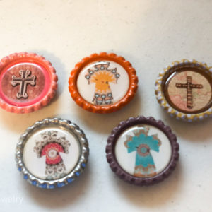 Set of 5 Colorful Cross Bottlecap Magnets