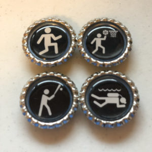 Set of 4 Sports Stick Figure Bottlecap Magnets – Baseball, Running, Scuba Diving, Basketball