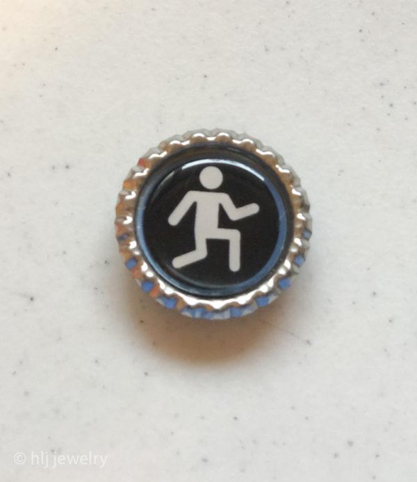 Set of 4 Sports Stick Figure Bottlecap Magnets – Baseball, Running, Scuba Diving, Basketball