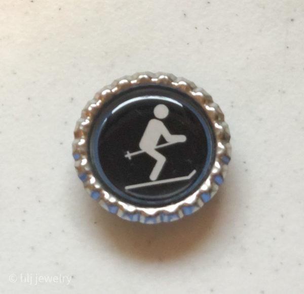 Set of 4 Sports Stick Figure Bottlecap Magnets – Basketball, Golf, Scuba Diving, Skiing