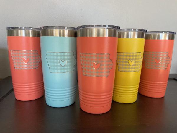 Personalized Engraved Iowa Tumbler Cup Gingham Heart Design