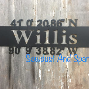 Family Name With Coordinates Metal Sign
