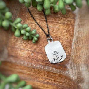 "Dogtag Anchor & Sails Necklace – ""You are my anchor and my sails all at once"""