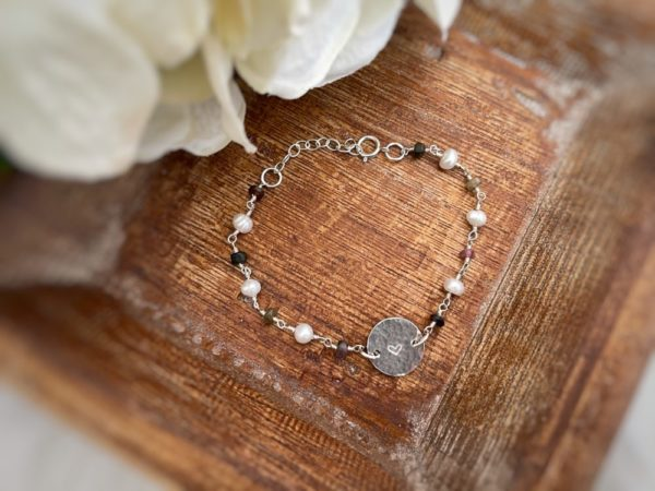 """Multi Tourmaline + Freshwater Pearl Hammered Heart Bracelet– """"Always remember you are loved."""""""