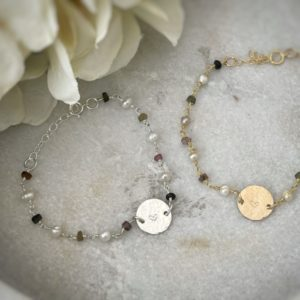 "Multi Tourmaline + Freshwater Pearl Hammered Heart Bracelet– ""Always remember you are loved."""