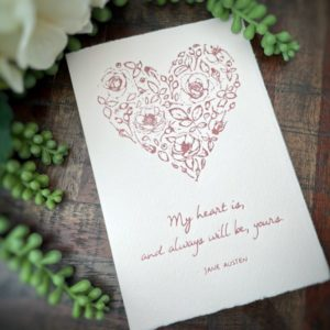 Jane Austen Heart Letterpress Card