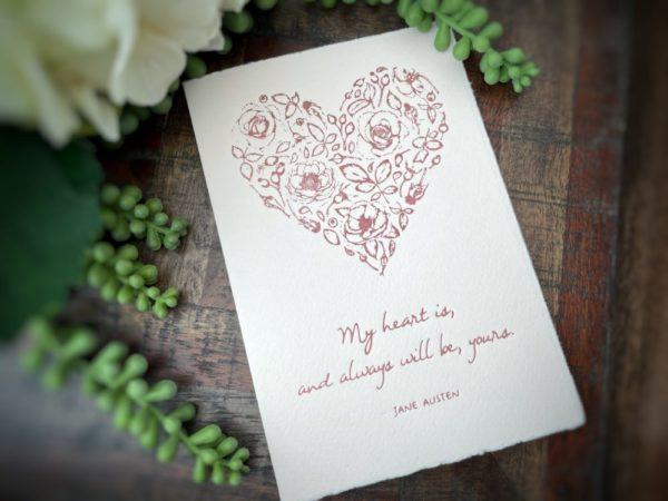 Jane Austen Heart Letterpress Card
