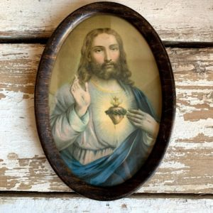 Antique Sacred Heart Jesus Lithograph