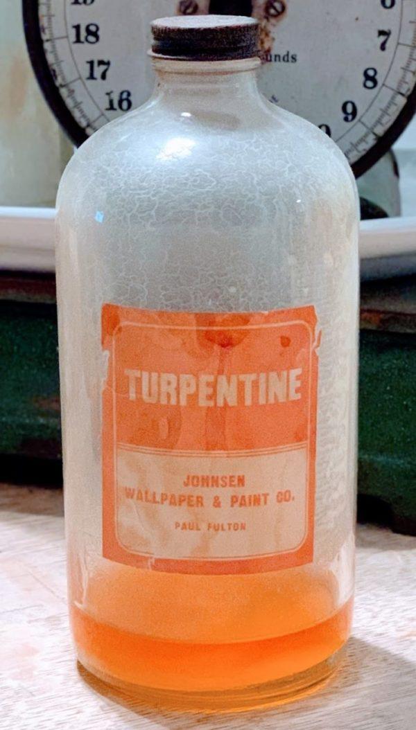 Antique Duraglas Glass Turpentine Bottle