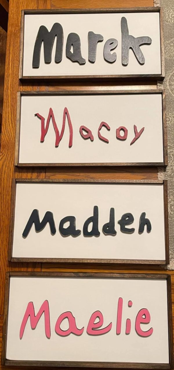 Childs 3D Name Laser Cut Wood Sign