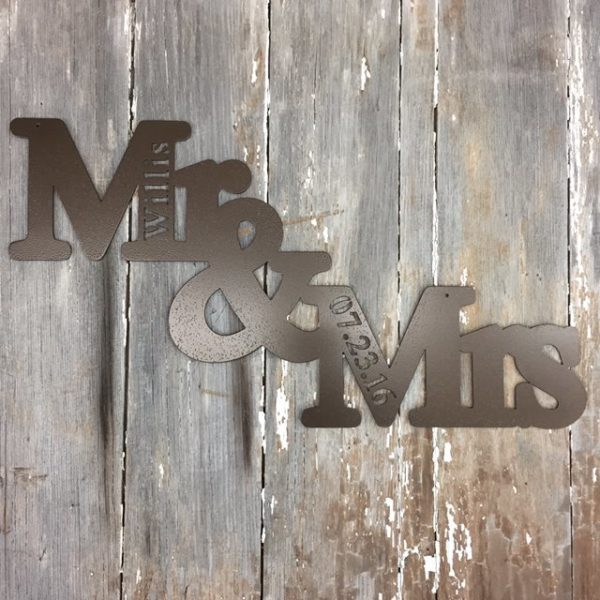 Mr and Mrs metal signs