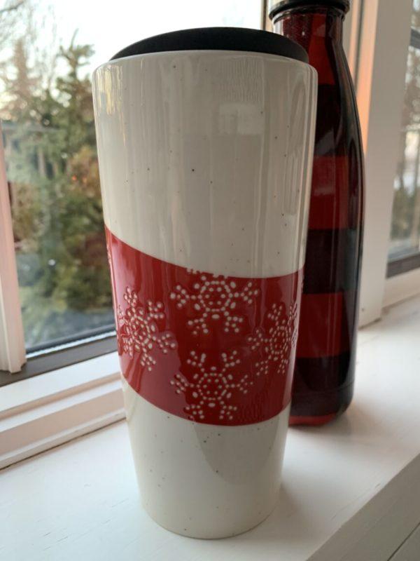 Ceramic Snowflake Travel Mug