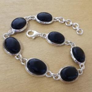 Black onyx stone ovals and sterling silver handmade bracelet