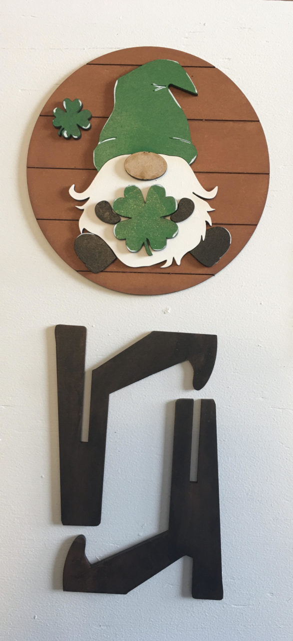 St. Patrick's Day Leprechaun Gnome Round Sign (DIY or Complete)