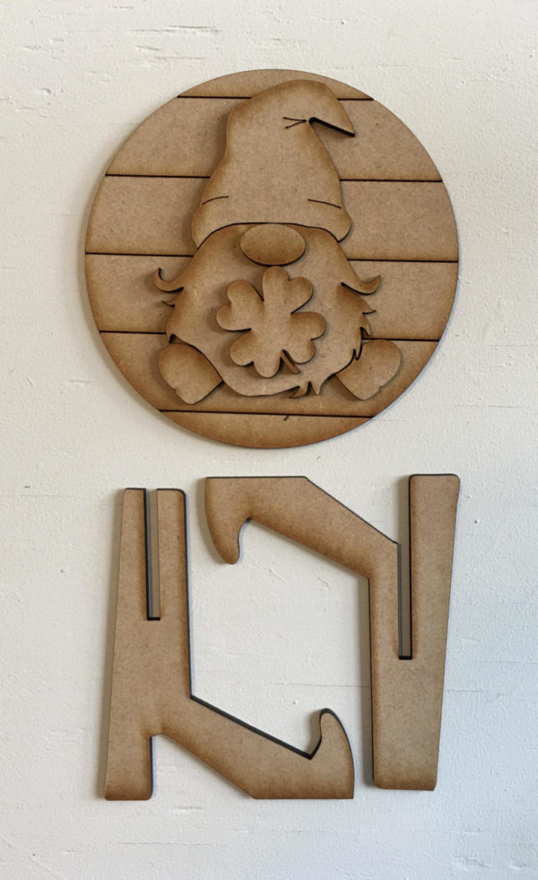 St. Patrick's Day Leprechaun Gnome Round Sign (DIY or Complete)