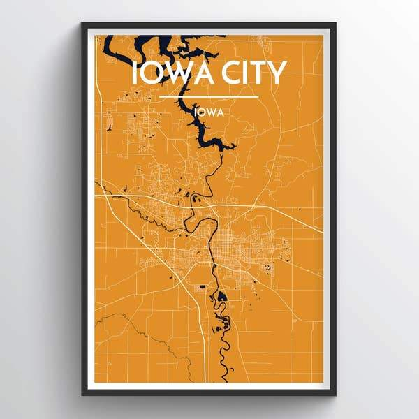 City Map Wall Decor – Sioux City, Ames, Omaha, Iowa City or Lincoln
