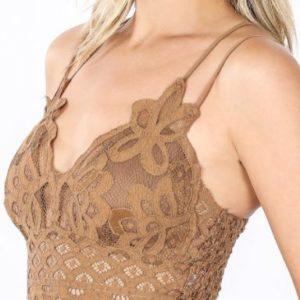 Deep Camel Crochet Lace Longline Bralette