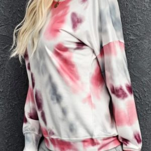 Pink Casual Tie-dye Round Neck Pullover