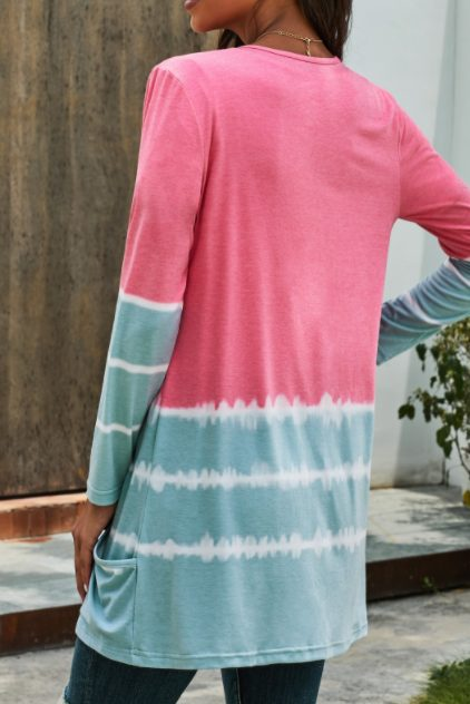 Pink Gray Tie Dye Cardigan