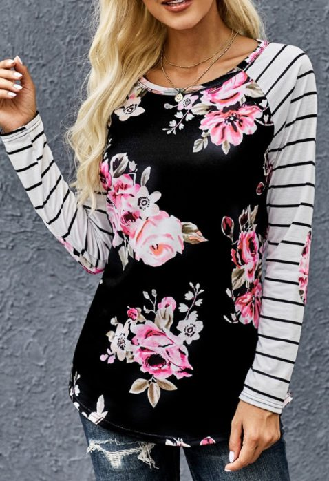 Floral Striped Elbow Patch Baseball Top
