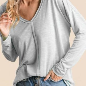 Gray Jersey Deep U-Neck Top with Raw Hem